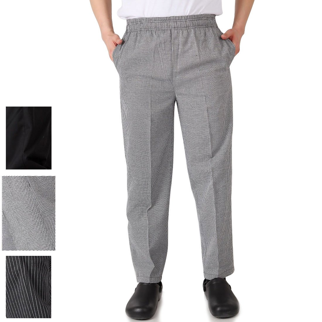 Levoberg Chef Pant Elastic Waist with Pocket Men's Baggy Chef Pant Restaurant Hotel Work Uniforms 2XL Lattices