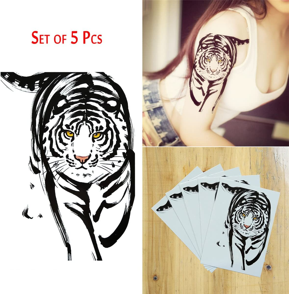 COKOHAPPY 5 Sheet Temporales Tatuaje Grande Tatuaje Tigre con ...