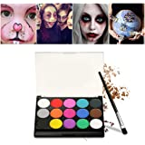 Face Paint Kit Professional 15 Flash Color Palette Washable Face Body Tattoo Paint for Halloween Party,Cosmetic Grade Safe Non-Toxic
