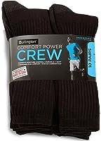 Burlington Comfort Power Men's 10 Pair Black Crew Socks (Size 6-12) - Made in USA