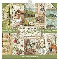 """STAMPERIA SBBS06 papierblok 10 vellen 20,3 x 20,3 (8"""" x 8"""") dubbelzijdig Forest, meerkleurig"""