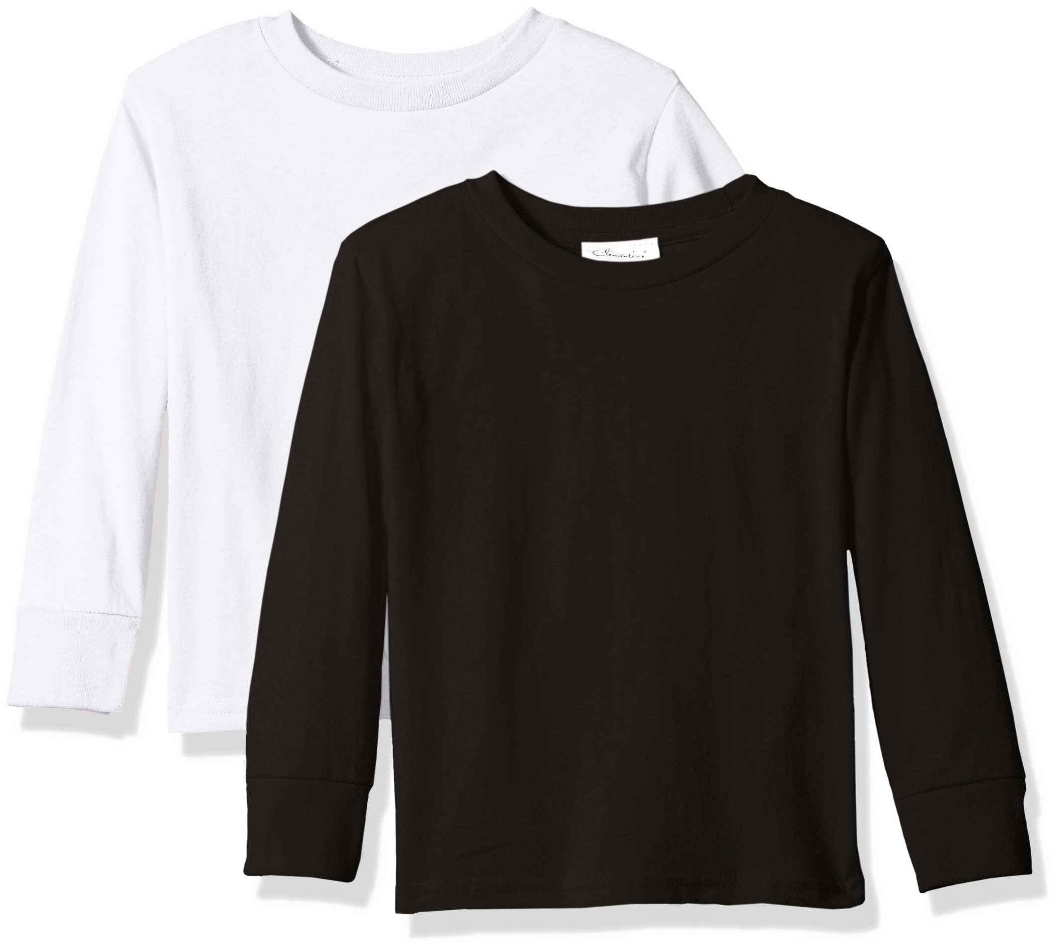 Clementine Baby Girls' Little Boys' Everyday Toddler Long Sleeve T-Shirts Crew 2-Pack, Black/White, 2T