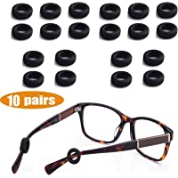 MOLDERP Silicone Eyeglasses Temple Tips Sleeve Retainer, Anti-Slip Round Comfort Glasses Retainers for Spectacle Sunglasses Reading Glasses Eyewear, 10 Pairs (Black)