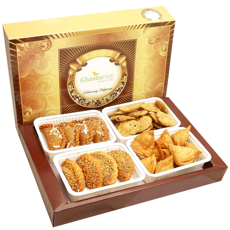 Ghasitaram Gifts Holi Gifts - Holi Hampers:Big Box of Traditioal Gujiyas, Til/Sesame Gujiyas, Farsan Samosas and Methi Mathi Hamper