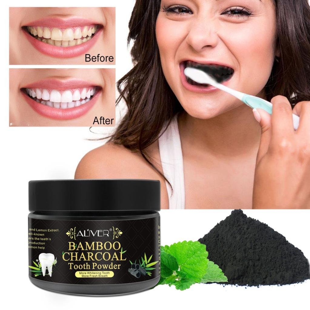 Creazy Teeth Whitening Powder Natural Activated Charcoal Whitening Tooth Teeth Powder (C)