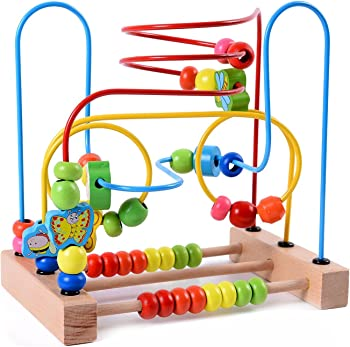 Lewo Wooden Baby Toddler Toys Circle First Bead Maze