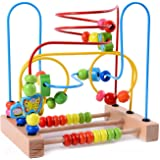 Lewo Large Wooden Toddler Toys Circle First Bead Maze for Boys Girls
