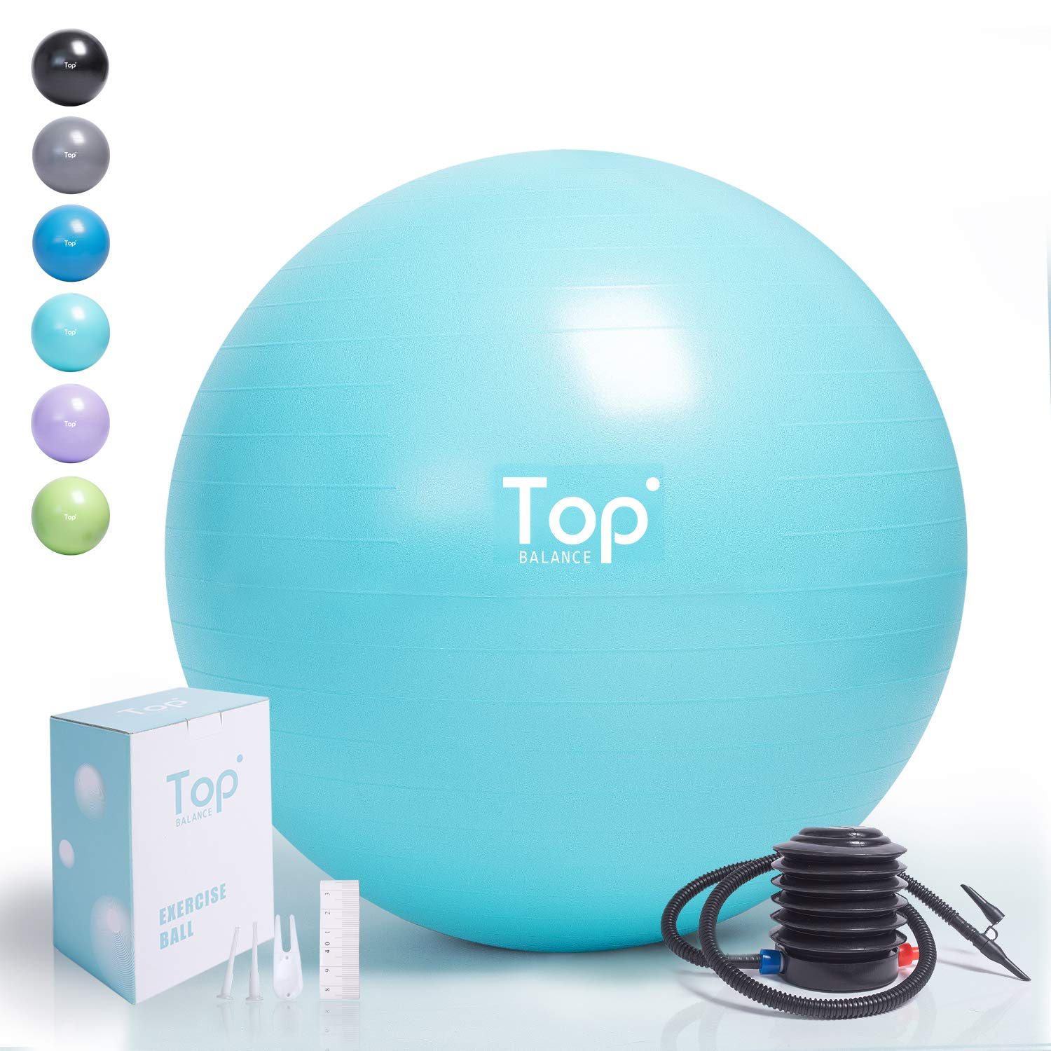Top Balance Anti-Burst Exercise Ball (Turkis, 65cm), Extra Thick Construction Supports up to 1000 lbs, Used for Fitness/Yoga/Ball Chair/Birthing with Easy to Inflate Foot Pump (Office & Home & Gym) by Top Balance