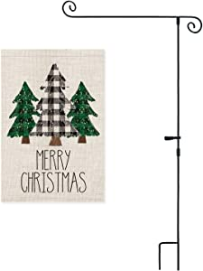 AVOIN Buffalo Plaid Christmas Tree Garden Flag with Scrolled 3 Piece Construction Flag Pole, Winter Holiday Yard Outdoor Decoration 12.5 x 18 Inch