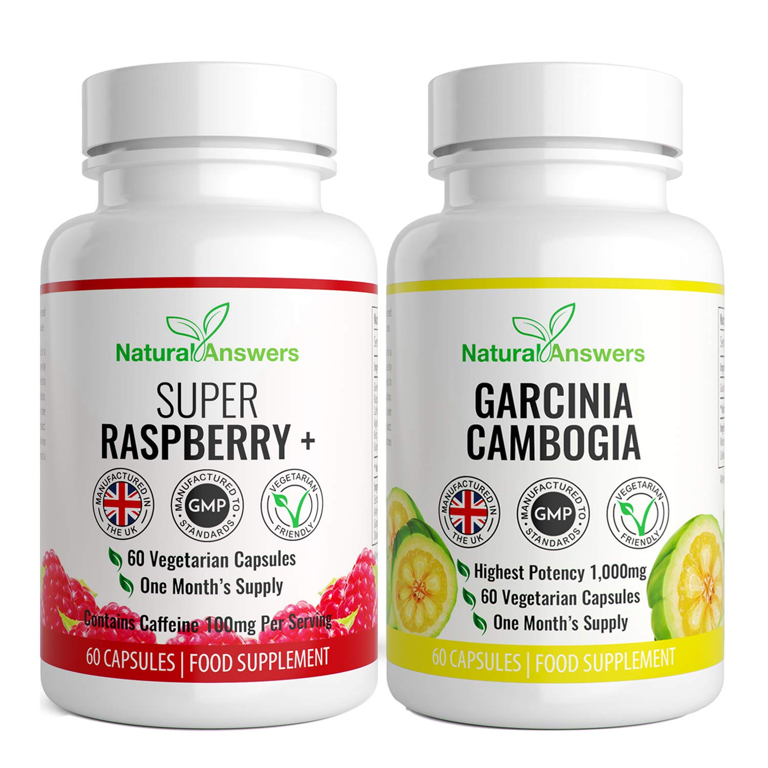 Garcinia Cambogia 1000mg Per Serving 60 Capsules + Super Raspberry Ketone  500mg 60 Capsules - Premium Quality - Fat Metabolism, Weight Management,  Fat