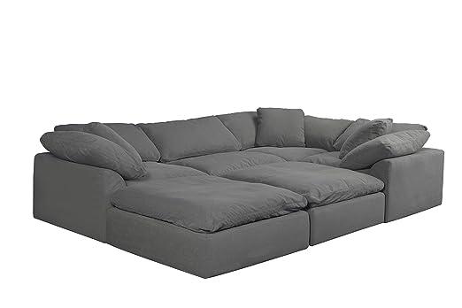 Amazon.com: Sunset Trading Cloud Puff Sectional Sofa, Gray ...