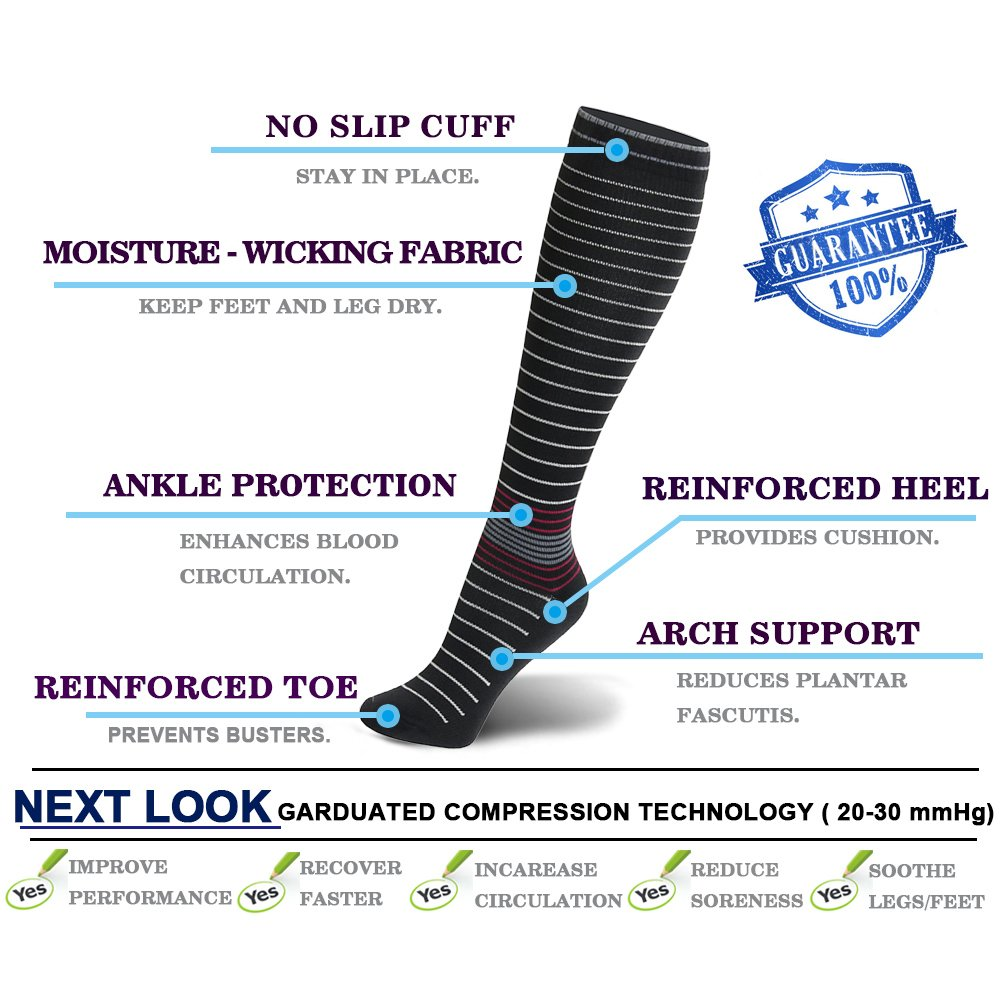 Compression Socks For Women and Men - 20-25mmHg- 3 Pairs BEST Stockings for Running, Athletic, Edema, Diabetic, Varicose Veins, Travel, Pregnancy & Maternity (Mix2,3 Pairs, S/M) by NEXT LOOK (Image #5)