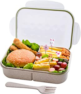 BusyMouth Bento Box,Ideal Bento lunch Box, Leakproof Lunch Containers with 3 Compartments, No BPAs,Made by Wheat Fiber Material, Microwave And Dishwasher Safe,12-Month Guarantee(white)
