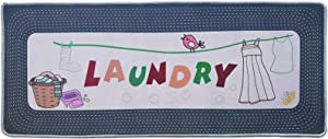 "ZOVSON Novelty Bird Laundry Floor Rug Non Slip Waterproof Rubber Mat Vintage Laundry Room Decorative Runner Rug Kitchen Floor Mat Grey 20"" x 47"""