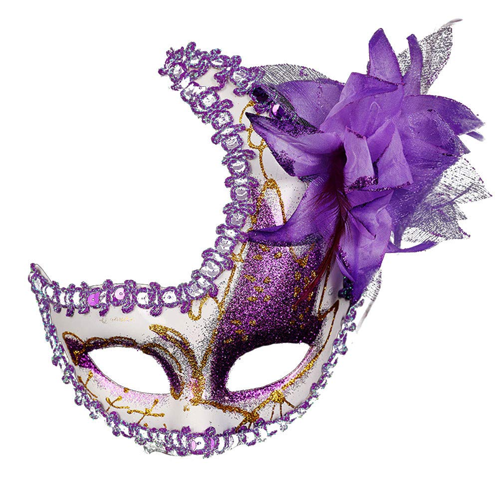 Masquerade Mask Cut Metal Masks Mardi Gras Halloween Masks for Women Makeup Party Halloween Cospay (Purple)