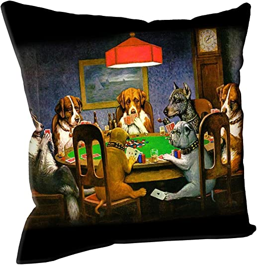 Snaptotes Coolidge Dogs Playing Poker Home Decorative Throw Pillow