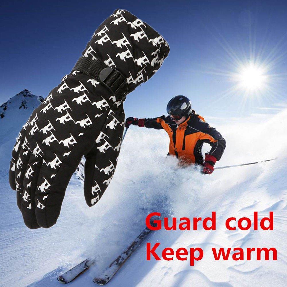 FidgetFidget Gloves for Outdoor Adult Winter Warm Waterproof Windproof Snow Snowboard Ski Sports Black by FidgetFidget