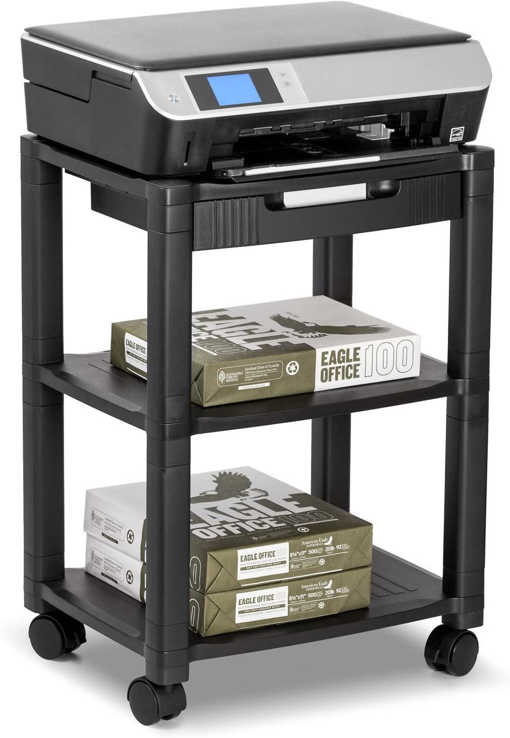 Halter LZ-308 Rolling Printer Cart Machine Stand with Cable Management – Holds Up to 75 Pounds Black