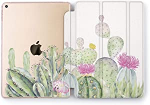 Wonder Wild Case Compatible with Apple iPad New Pro 9.7 inch Mini 1 2 3 4 Air 2 10.5 12.9 Stand Hard Shell Transparent 5th 6th Gen 10.2 11 Floral Cactus Vintage Nature Plants Light Green Cacti