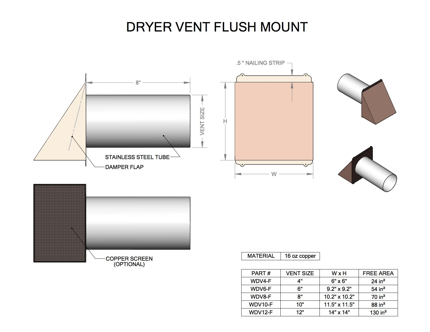 4'' Stainless Steel Flush Mount Hooded Dryer / Exhaust Vent w/ Flapper