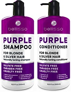 Purple Shampoo and Conditioner Set - Sulfate Free Salon Grade - Hydrating Toner - Shimmer Correction for Platinum Blonde, Silver, Light, and Grey Hair