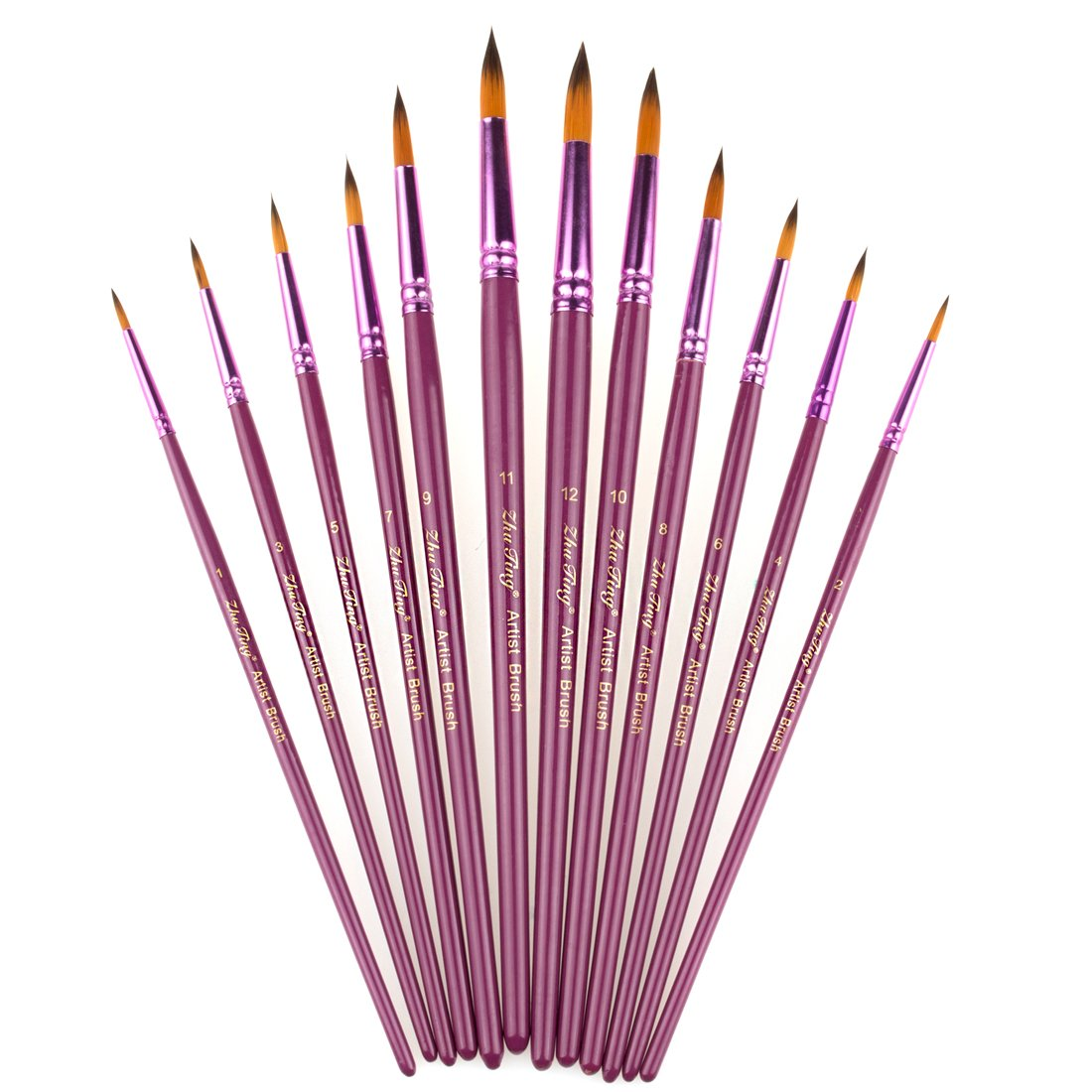 StarVast Painting Brushes, 12pcs Professional Flat Paint Brush Set for Watercolor/Oil/Acrylic/Crafts/Rock/Face Painting and Gouache - Purple