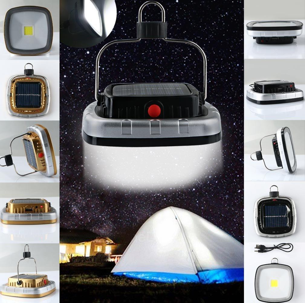 Cacys Store - Portable 3W 300 Lumens COB LED Solar USB Rechargeable Camping Hiking Tent Light Lamp Lantern W/Hook (1 Pcs, Random Colors)