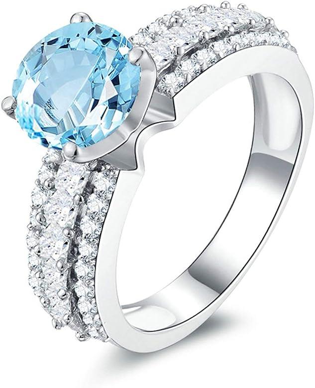 Blisfille Joyas Anillos de Compromiso Diamantes Anillo de Round Anillo Mujer Diamante Anillo de Plata de Ley 925,Blanco Oro del Tamaño 25: Amazon.es: Joyería