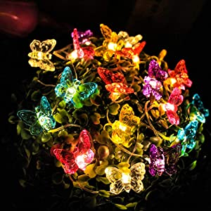 Starry Love Mini Clip Solar Powered Honey Butterfly String Lights,2 Pack 20 LED Solar String Lights Outdoor Honeybee Fairy String Lights for Garden Patio Flower Trees Lawn Landscape(Butterfly)