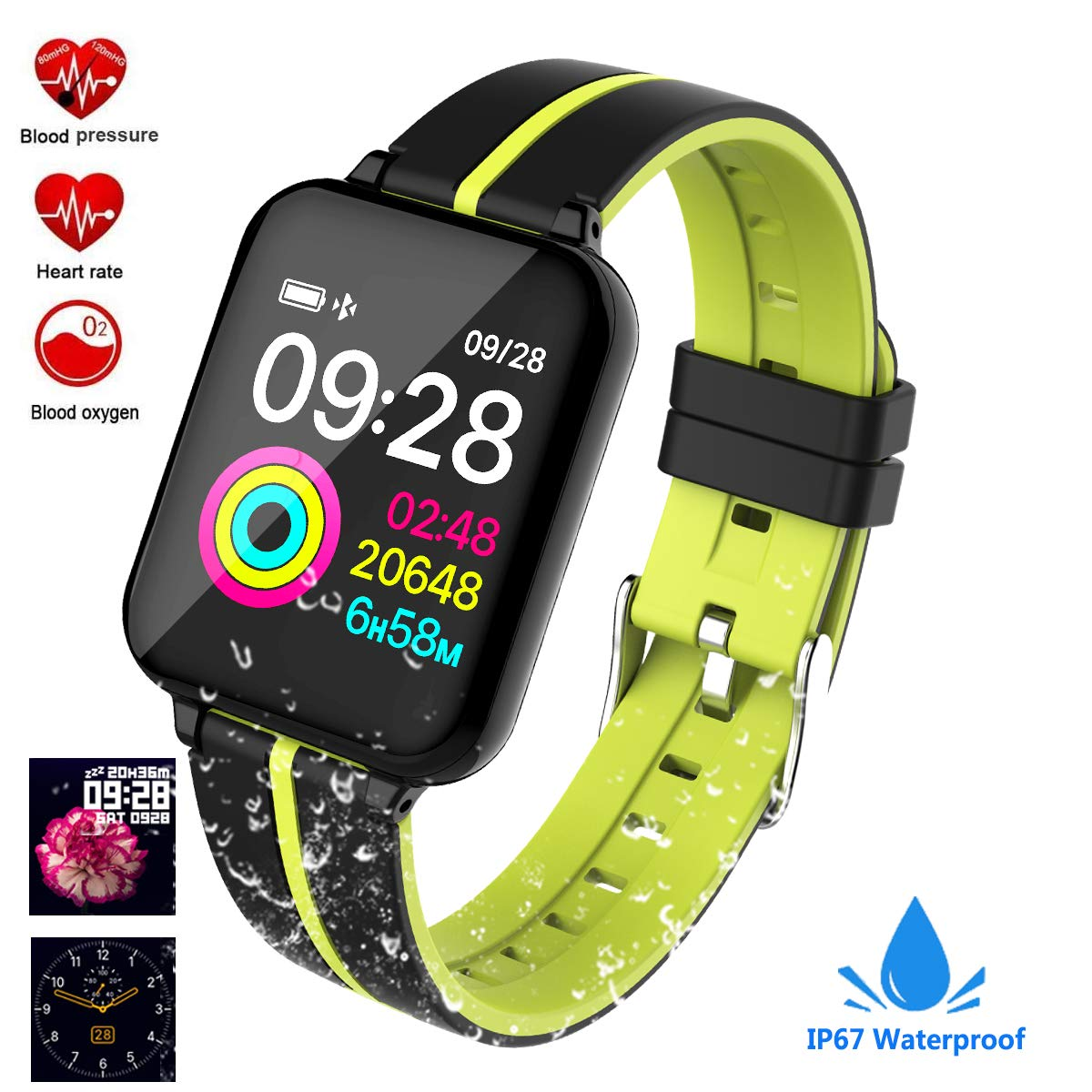 Fitness Tracker, Activity Tracker Fitness Watch with Heart Rate Monitor Color Screen,Waterproof Smart Bracelet with Step Counter,Calorie Counter,Pedometer for Kids Women Men Android iOS (Black/Green)