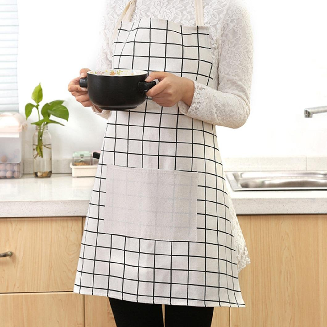 Bomdes Plaid Apron, Cooking Kitchen Restaurant Apron Dress Unisex Dining Barbecue Pocket Bib (A) Hao Tech