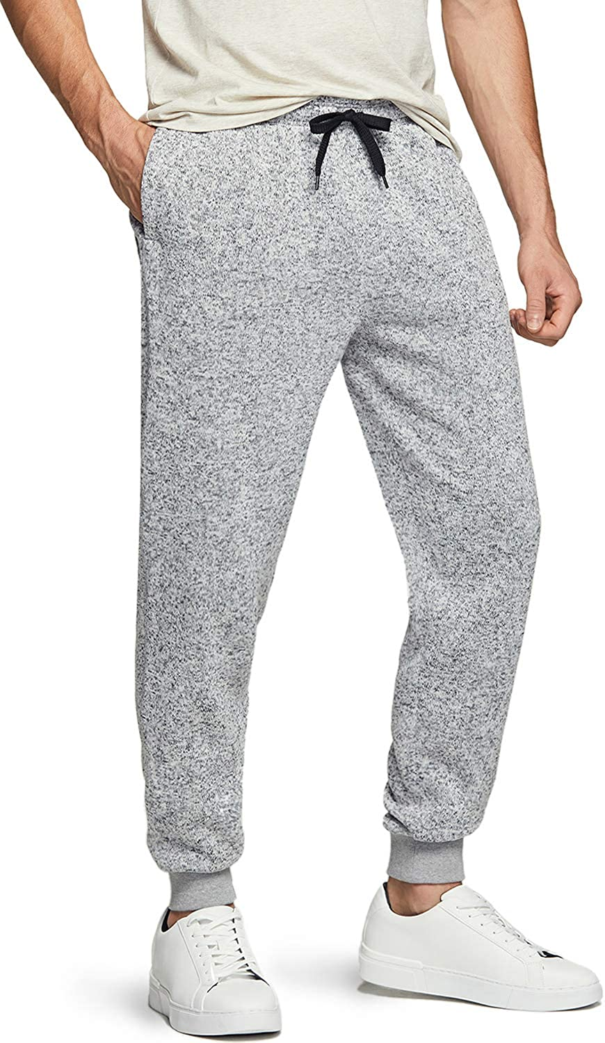 TSLA Men's Winter Fleece Jogger Pants, Athletic Sports Sweatpants, Running Tapered Sweatpants with Pockets