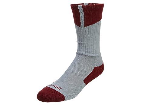Nike Hombres de Jordania Dri-fit Calcetines, Gris/Rojo