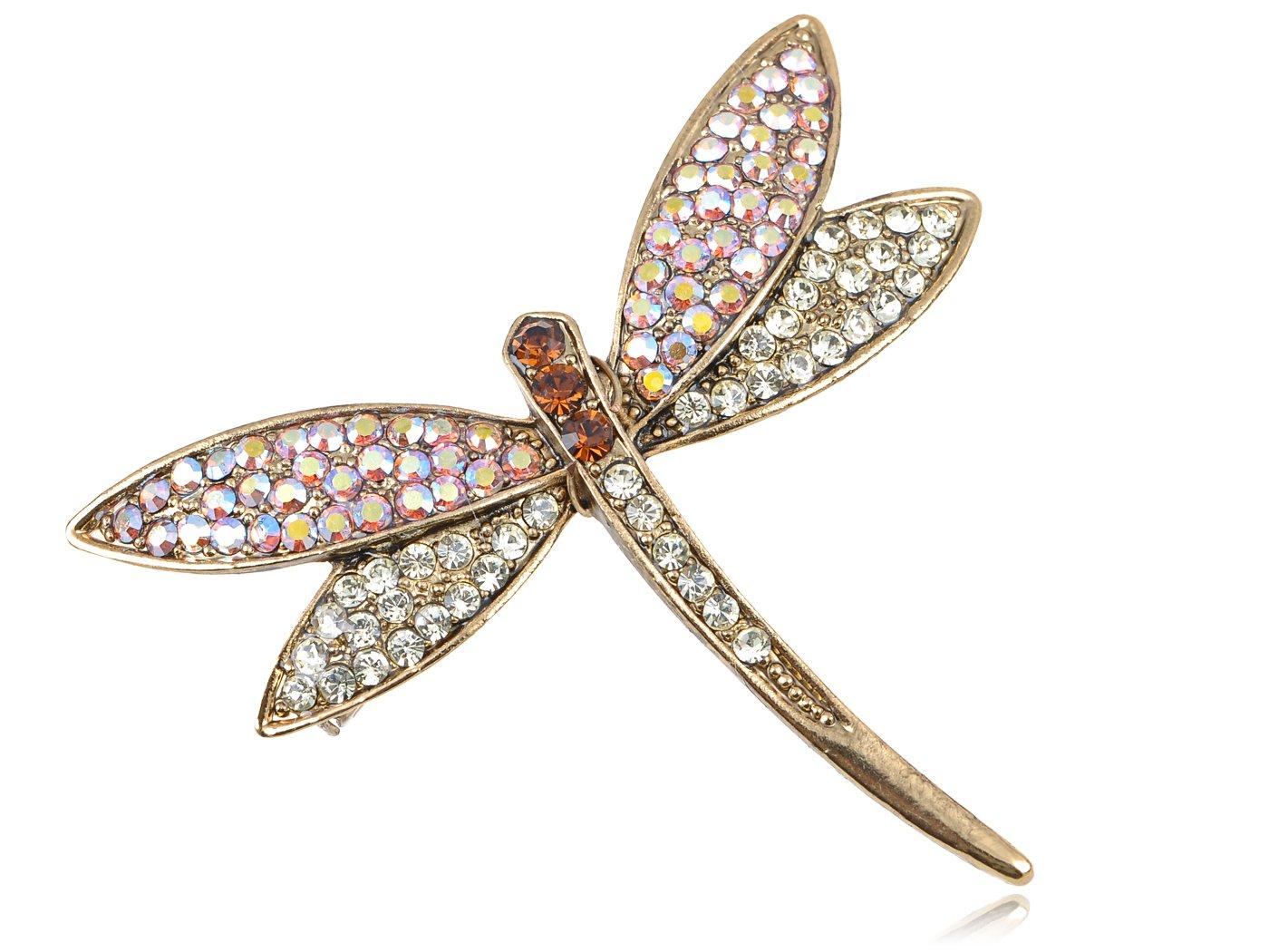 Alilang Golden Tone Iridescent Multi Rhinestones Colorful Dragonfly Brooch Pin