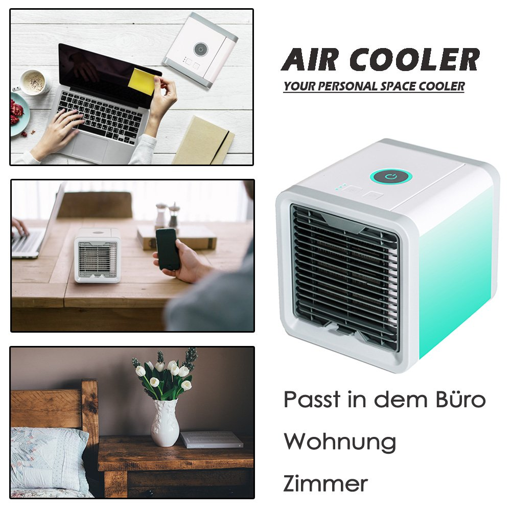 Simfonio Arctic Air Portable Air Conditioner - Mini Air Conditioner Fan 3 in 1 USB Air Cooler - Personal Air Purifier Humidifier with 7 Colors LED Lights Cooling Desktop Fan for Home Office Bedroom