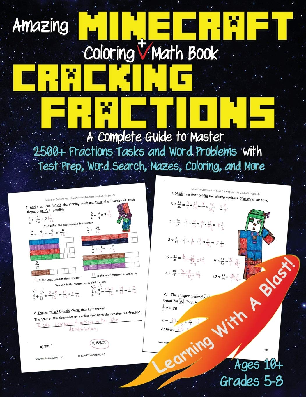 Minecraft Coloring Math Book Cracking Fractions Grades 5-8 ...