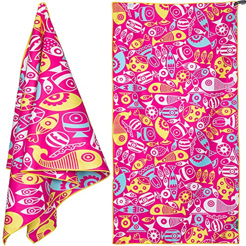 4MONSTER 63x31'' Microfiber Beach Towel for Travel - Quick Dry Super Absorbent Lightweight Towel for Swimmers, Sand Free Towel, Beach Towels for Kids & Adults, Pool, Swim, Water -