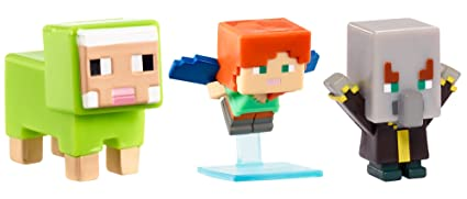 Mattel Minecraft Mini Alex W Elytra Evoker Green Sheep Figure  Pack