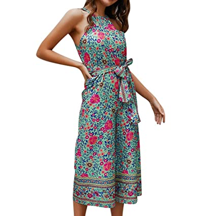 1e0373a7f4d1 Women's Sexy Sleeveless Halter Neck Jumpsuits Tribe Floral Print Belted  Rompers Wide Leg Palazzo Cropped Pants