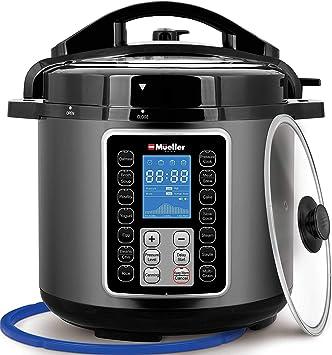 Mueller UltraPot 6Q olla eléctrica 10 en 1 olla a presión con tecnología alemana ThermaV, cocina 2 platos a la vez, incluye tapa de vidrio templado, saltea, vaporizador, lento, arroz, yogur, creador,