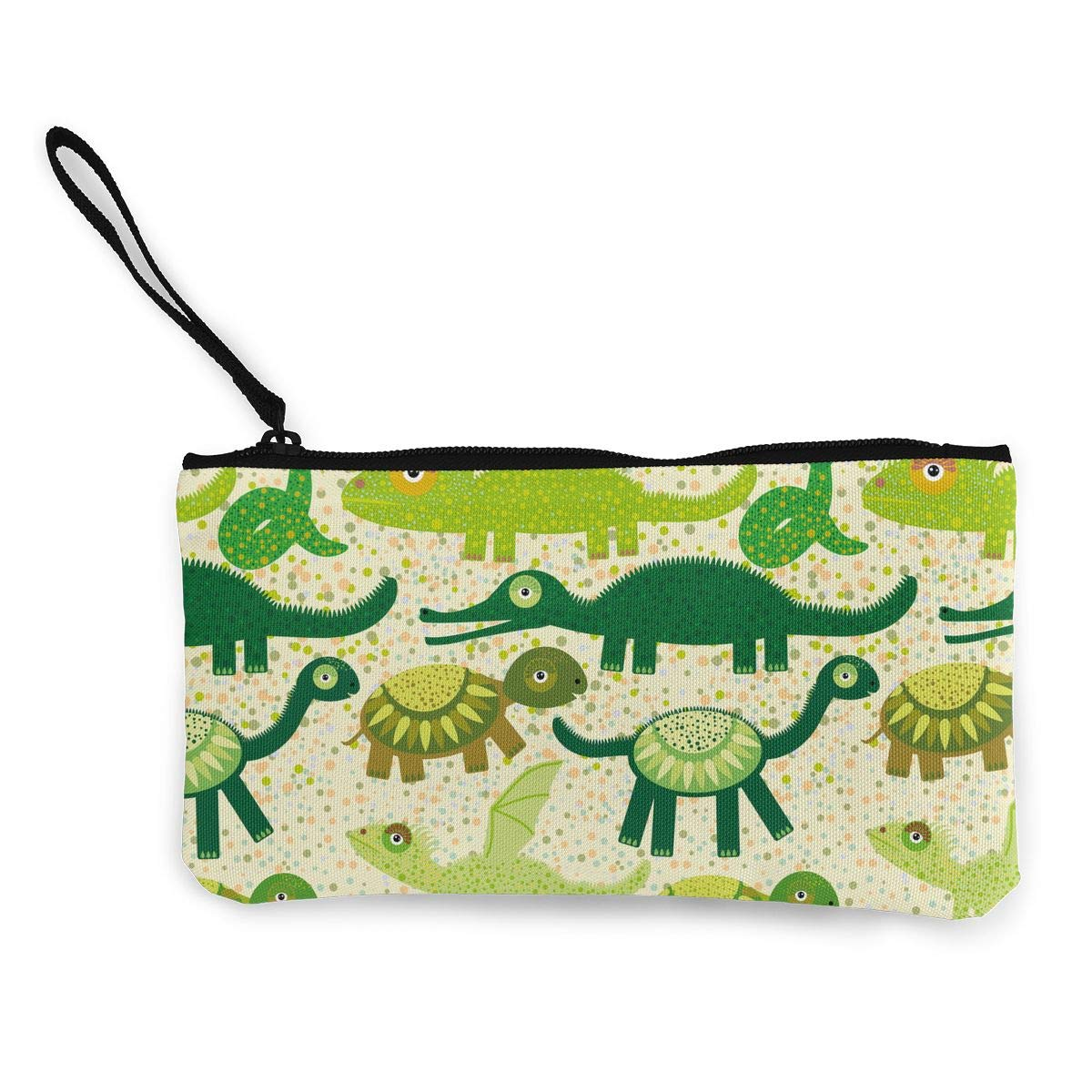 Womens Retro Coin Purse Crocodile Turtle Dragon Iguana Snake Pattern Canvas Makeup Bag With Zipper For Women