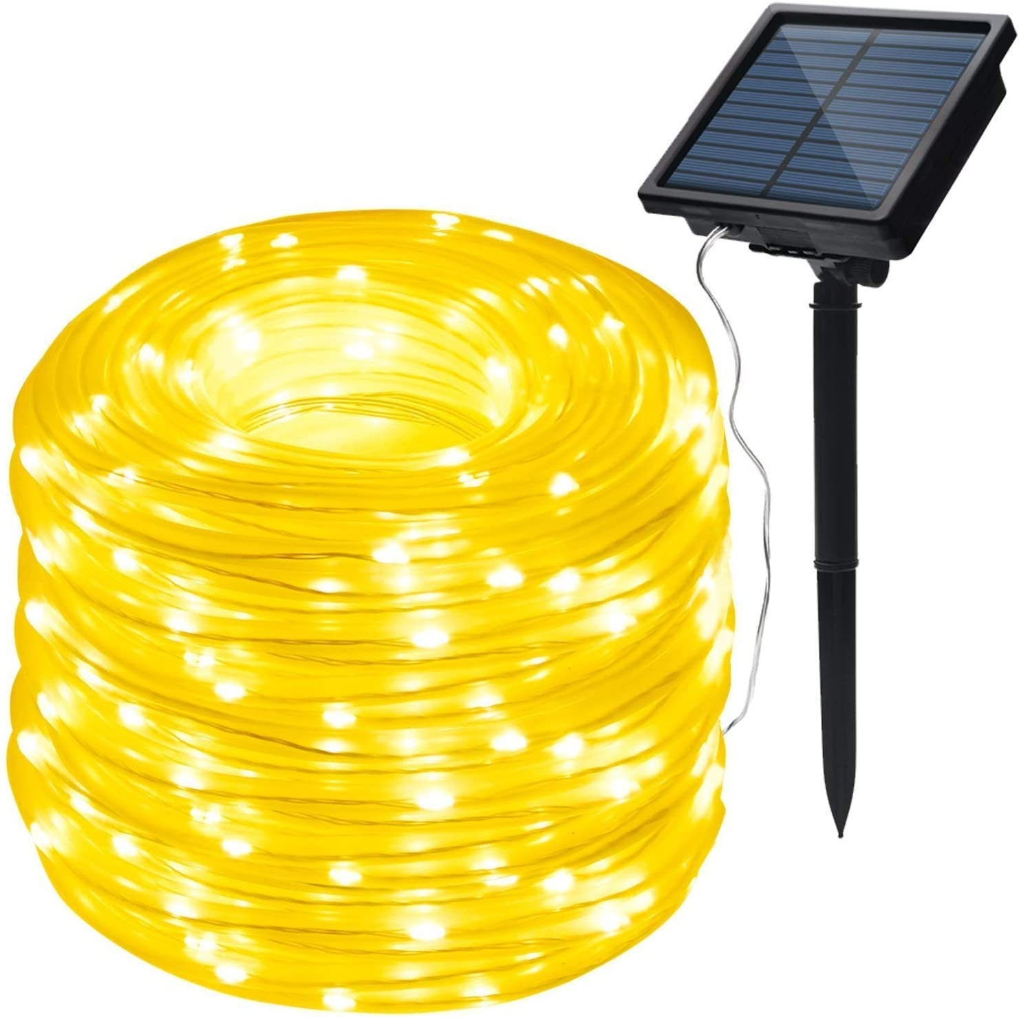 IMAGE 8 Modes Solar Rope Lights Outdoor String Lights 78.7 Feet 20M Waterproof 200LED for Indoor Outdoor Garden Party Patio Lawn Decor Warm White