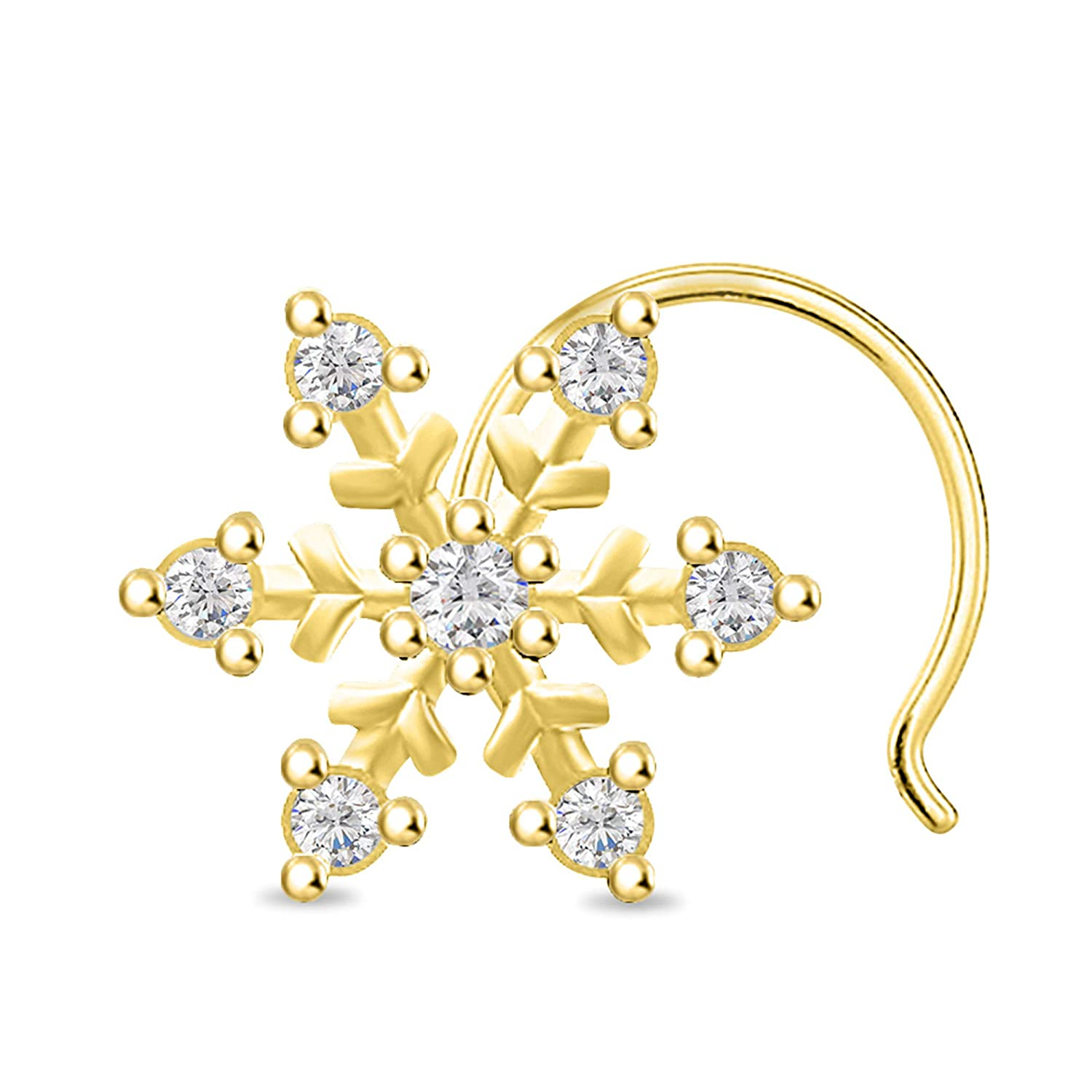 Diamond Scotch Round Cut White Cubic Zirconia Snowflake Nose Pin for Women's in 14k White Gold Over Body Piercing Jewelry SDNP105-WG