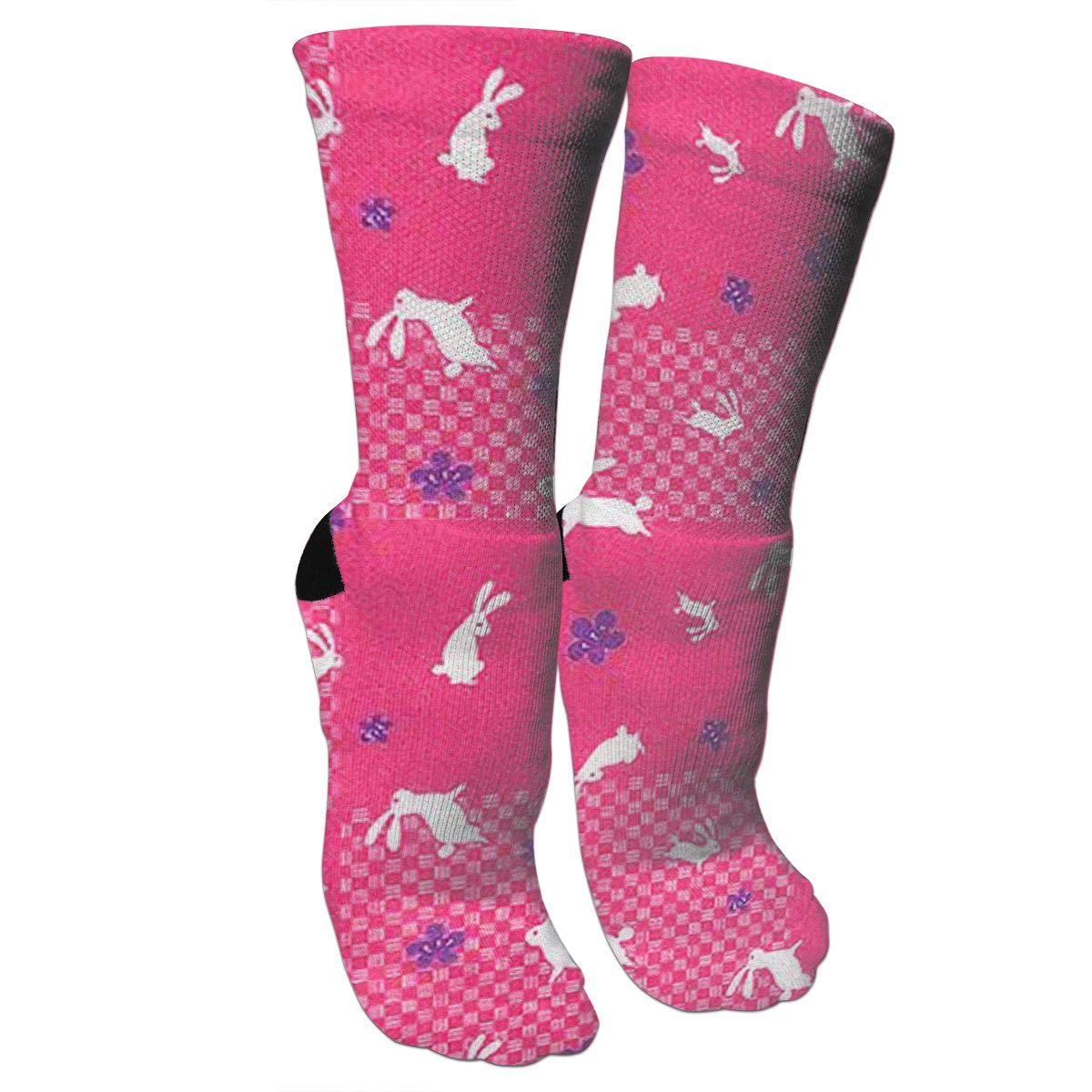 Pink Rabbit Crazy Socks Casual Cotton Crew Socks Cute Funny Sock great for sports and hiking