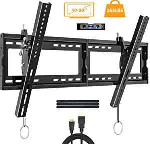 """Tilting TV Wall Mount Bracket for Most 40-90 Inch Flat Large Screen TV JUSTSTONE Low Profile Wall TV Mount Fits 16-24 Inch Wood Studs Max VESA 800x400mm (32""""x16"""") and up to 165 LBS"""