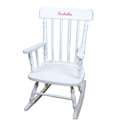 MyBambino Personalized Girls With Name Only White Wooden Rocking Chair