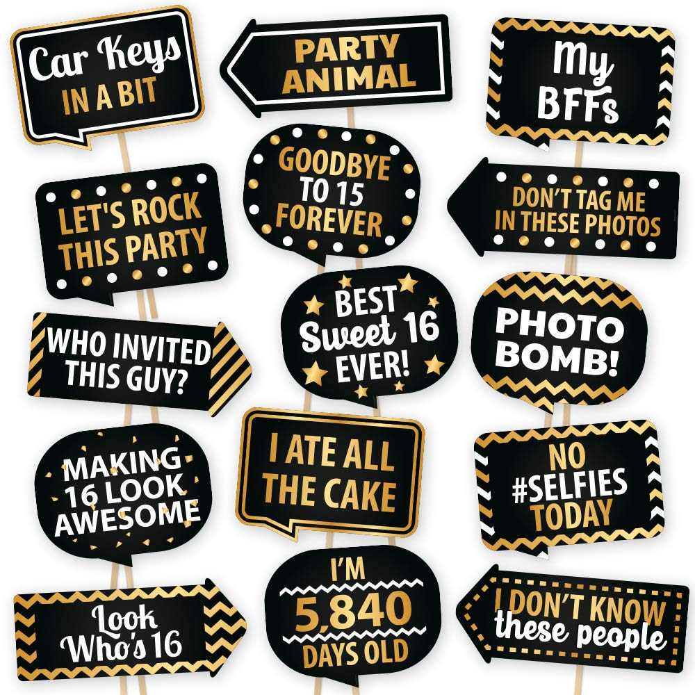European Made 16th Birthday Party Supplies Sweet 16 Photo Booth Props By PartyGraphix Sweet 16 Party Decorations Easy To Assemble Selfie Props Birthday Kit Includes 15 Pieces