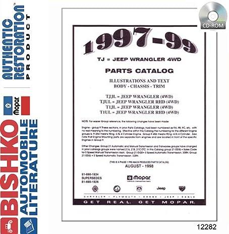 1997 1998 1999 Jeep Wrangler Parts Numbers Book List CD Interchange Images