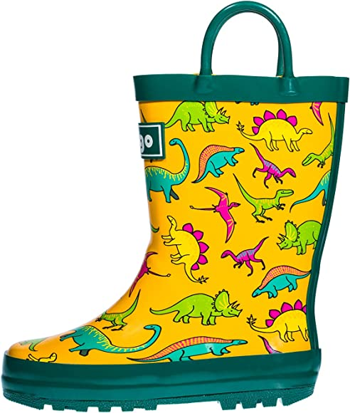 fdc19b1371 hibigo Toddler Rain Boots for Kids, Waterproof Rubber Rain Boots with Easy- On Handles