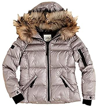 73ea74a0b394 Amazon.com  SAM.. New York Girls Quilted Down Hooded Jacket Silver ...
